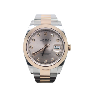 ROLEX DATEJUST 41 126301 STEEL AND 18CT ROSE GOLD DIAMOND DIAL £9995.00