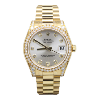 ROLEX DATEJUST 31MM MID SIZE 178158 DIAMOND SET 18CT YELLOW GOLD £23,995.00 - The Cheshire Watch Company