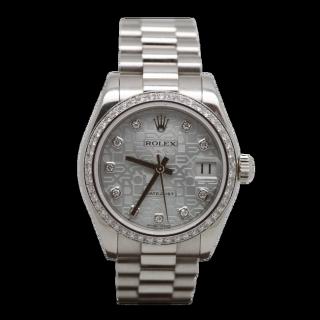 ROLEX DATEJUST 31MM MID SIZE 178246 PLATINUM DIAMOND BEZEL £19,995.00 - Cheshire Watch Company