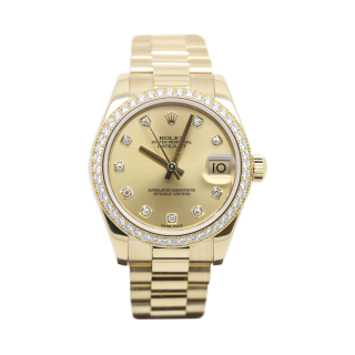 Rolex Datejust 31mm mid size 178288 Diamond bezel and dial 18ct yellow gold £20,495.00 - Cheshire Watch Company