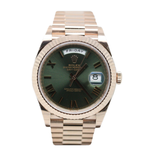 ROLEX DAYDATE 40 18CT ROSE GOLD GREEEN DIAL 228235 £23,995.00 - The Cheshire Watch Company