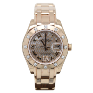 ROLEX PEARLMASTER 80315 18CT ROSE GOLD LOTUS DIAL £23,995.00 - Cheshire Watch Company