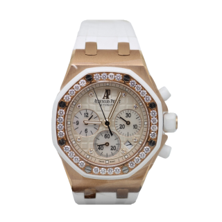 AUDEMARS PIGUET LADIES ROYAL OAK DIAMOND OFFSHORE 18CT ROSE GOLD CHRONOGRAPH 26048.OK.ZZ.D010CA.01 £26,500.00 - Cheshire Watch Company