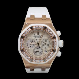 AUDEMARS PIGUET LADIES ROYAL OAK DIAMOND OFFSHORE 18CT ROSE GOLD CHRONOGRAPH 26048.OK.ZZ.D010CA.01 - Cheshire Watch Company