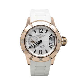 JAEGER LeCOULTRE LADY MASTER COMPRESSOR GMT 18CT ROSE GOLD AND DIAMONDS Q1892720 - Cheshire Watch Company
